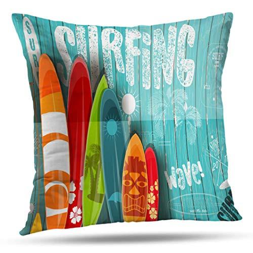Pakaku Throw Pillows Covers for Couch/Bed 16 x 16 inch,Surf Watercolor Surfboard Home Sofa Cushion Cover Pillowcase Gift Decorative Hidden Zipper Cotton and Polyester Summer Beach Sunlight (Pillows Surfboard)