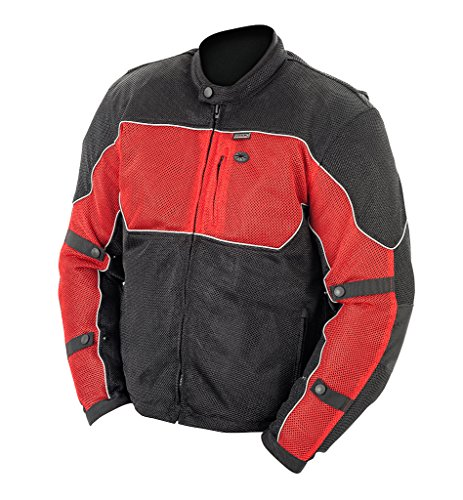 Brooks Leather Men's Textile Mesh Riding Jacket (Black/Red, X-Large)