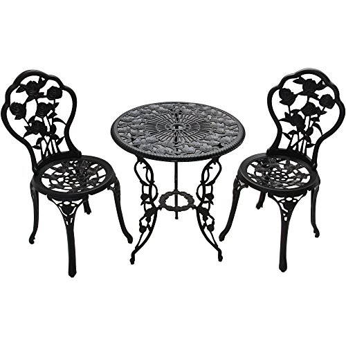 Patio Furniture Outdoor Garden Rose 3-Piece Bistro Set 1 table and 2 chairs aluminum cast-iron legs rose pattern ()