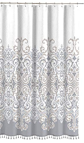 - Sicily Collection Decorative Floral Fabric Shower Curtain: Elegant Style Grey, Bronze, White with Fringe