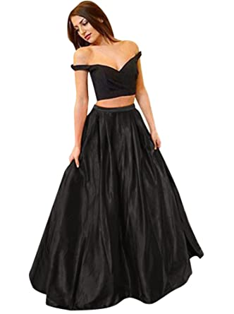 Harsuccting Off The Shoulder Two Piece Long Satin Evening Gown Prom ...