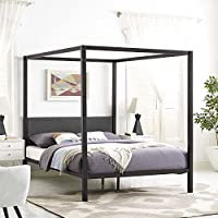Modway MOD-5570-BRN-GRY Raina Canopy Bed Frame, Queen, Brown Gray