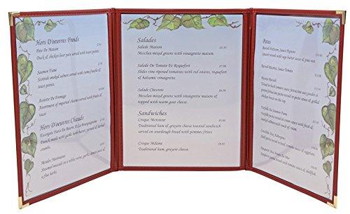 amazon com tri fold flexible leatherette menu cover 8 x11 black