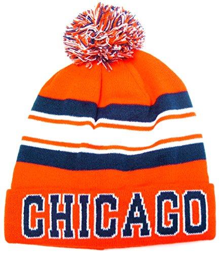Chicago Navy Blue / Orange Classic Cuffed POM Ball Knit Hat Cap Winter Ski Beanie