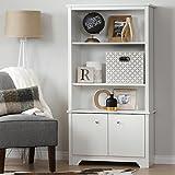 South Shore Furniture Vito 3-Shelf Bookcase with Doors, Pure White