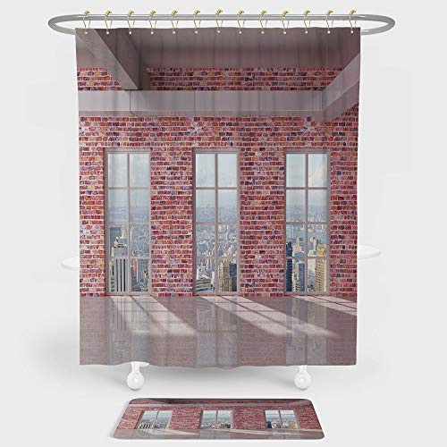 iPrint Modern Decor Shower Curtain And Floor Mat Combination Set Red Brick Wall Loft Interior with Windows to City Urban Contemporary Design For decoration and daily use Multicolor