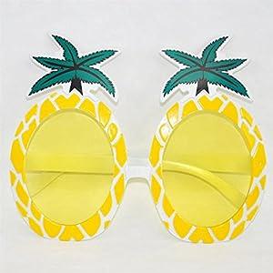 Crazy Night Fiesta Tropical Pineapple Sunglasses, Tropical Hawaiian Novelty Sunglasses (yellow)