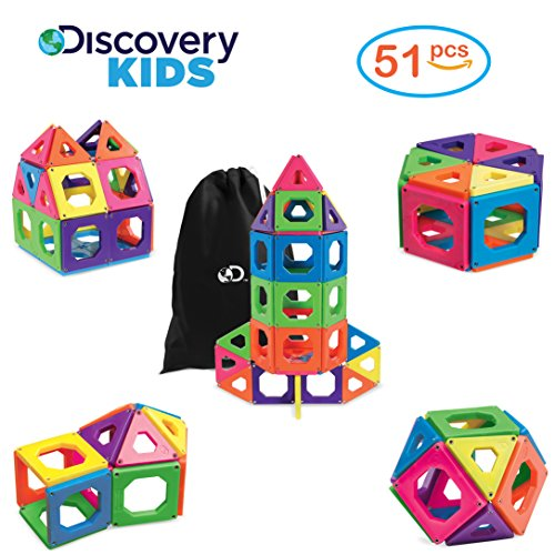 [Upgraded Version] DISCOVERY KIDS 51 Piece Best Magnetic Tile Set, Magnetic Building Blocks Kit for Boys/Girls, 2D, 3D Educational Creativity, STEM Toys for Children, Storage Bag (Boys Storage)