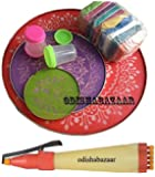 Odishabazaar Ready to Draw Rangoli Making Kit -Stencil + Pen + Color + Filler