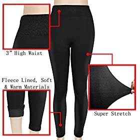 Falari Leggings Fleece Lined Cotton Thick Stretch Leggings Great For Winter
