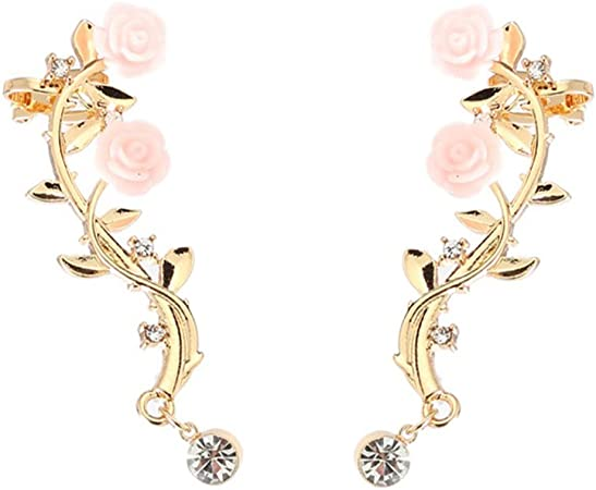 Amazon Com Homeyu Ear Crawler Earrings Climbers Rose Flower Vine
