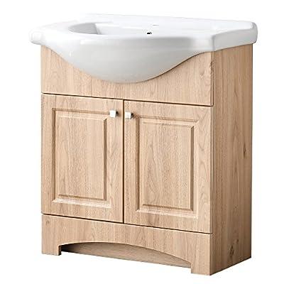 RESSORTIR  Mordern Bathroom Vanity, 26 inch, Vanilla Oak - Size: 26 in. W x 19 in. D x 37 Faucet and pop up drain not include Constructed in laminate composite wood - bathroom-vanities, bathroom-fixtures-hardware, bathroom - 51J4abcudhL. SS400  -
