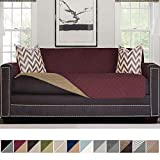 Sofa Shield Original Reversible Couch Slipcover Furniture Protector, Seat Width Up to 78'', 2 Inch Strap, Machine Wash, Slip Cover Throw for Pets, Dogs, Kids (Oversized Sofa: Burgundy/Tan)