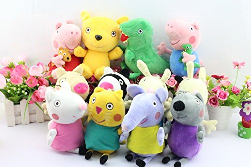 (16pcs/set) Peppa Pig Plush Doll Toy Peppa Teddy Bear Geroge Dinosaur Peppa Pig Grandpa and Grandma Peppa Pig Friends