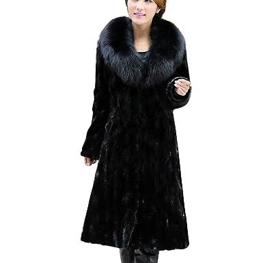 ebc124511 GOVOW Cardigan for Womens Winter Warm Long Coat Jacket Faux Fur Plus Size  Parka Outwear