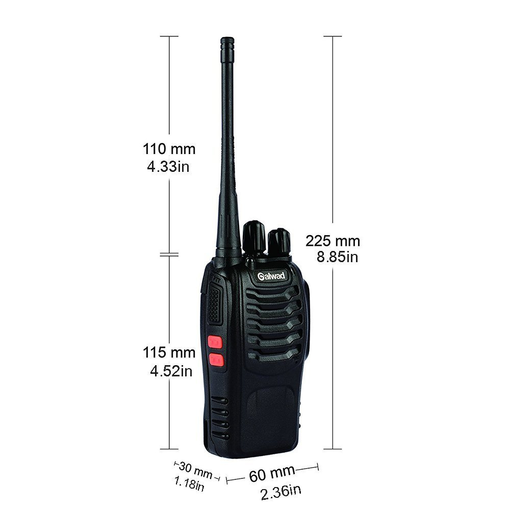 Walkie Talkie 16 Channels Long Range Two Way Radio 2pcs Radios Box Contain Two of Every Item (2 Radios,2 Rechargeable Batteries,2 Lanyards,2 Clips,2 Antennas,2 Chargers,2 Headphones,2 Manuals) by Galwad (Image #3)
