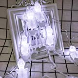 UJoowalk Halloween String Lights, 14.5 ft 30 LED White Skeleton Decoration with Battery Operated Lighting Strings for Indoor Outdoor Patio Garden Party Decor