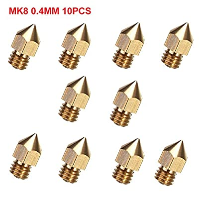 CCTREE 10pcs 0.4mm MK8 Extruder Nozzle For 3D Printer Makerbot Anet A8 Creality CR-10 CR-10S S4 S5