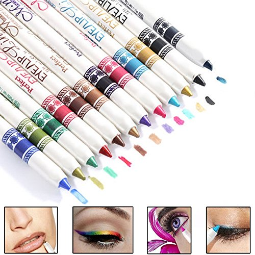 toyofmine-12-pcs-cosmetic-makeup-glitter-eyeliner-eye-lip-liner-eyebrow-pencil-pen-set