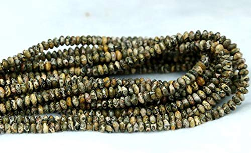GemAbyss Beads Gemstone 1 Strands Natural Yellow Black Leopard Skin Jasper Rondelle Loose Beads Fit Jewelry Necklace Bracelets 2x5mm/3x6mm 15 Inch Long 03283 Code-MVG-23511