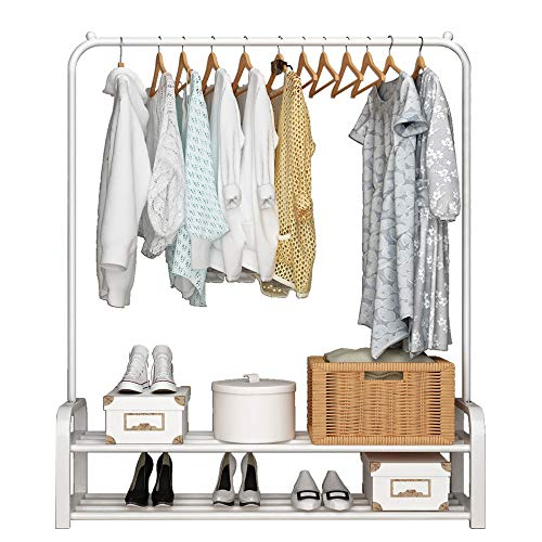 UDEAR Garment Rack Free-Standing Clothes Rack with Top Rod and Lower Storage,White (White Rack Lower)