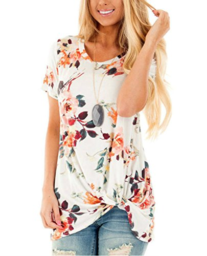 Jug&Po Womens Short Sleeve Floral Print Knot Front Blouse Casual Tops T Shirt (Large White)
