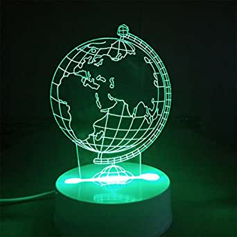 NewTex 3D Night Light Table Desk Lamps for Halloween Décor Data lines remote control 4 kinds of change mode and 16 colors Show LED lights Decorations for bars and gifts Globus