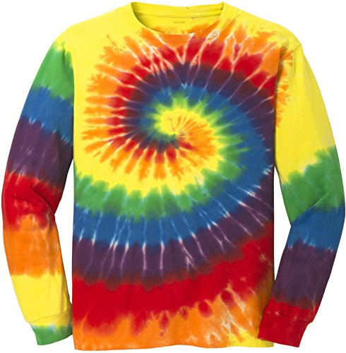 Koloa Surf (tm) Youth Colorful Long Sleeve Tie-Dye T-Shirt in Youth Sizes XS-XL Rainbow