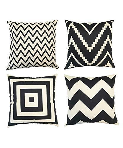 Abizoe Home Decor Design Cotton Linen Throw Pillow Case Cushion Covers Outdoor Suqare 18 X 18 Inch?Set of 4(Black)