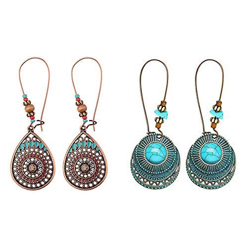 FUTTMI 2 Pairs Bohemian Vintage Dangle Earrings Metal Hollow Pendant Earrings Set Boho Chic Jewelry for Women Girls (Chic Jewelry)