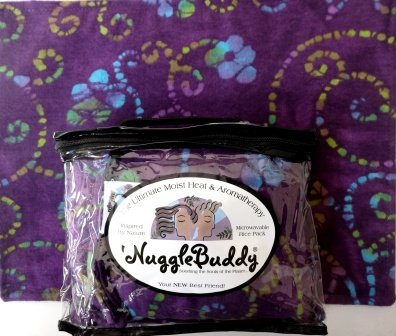 - 'NUGGLEBUDDY NEW! Microwavable Moist Heat & Aromatherapy Organic Rice Pack. PURPLE BATIK FLORAL Flannel Fabric with SWEET LAVENDER Aromatherapy!