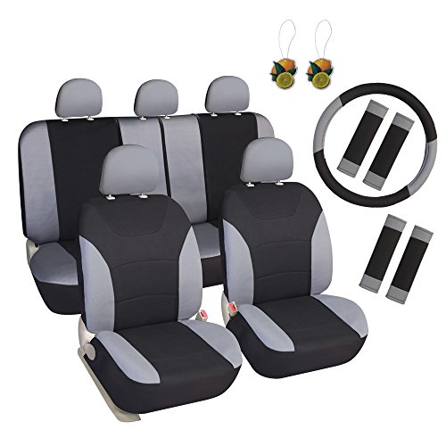 Leader Accessories Black/Grey Airbag Compatible Sports Car Seat Covers Poly Cloth Seat Cover Combo Pack 17pcs Full Set