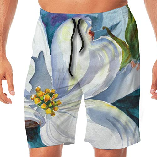Watercolor Painting of Dogwood Tree Bloom Men's Basic Swim Trunk Summer Trunk