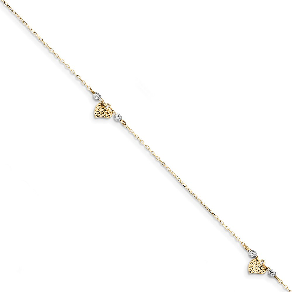 Black Bow Jewelry 14k Two-Tone Gold D/C Heart and Beads Cable Chain Anklet, 10-11 Inch