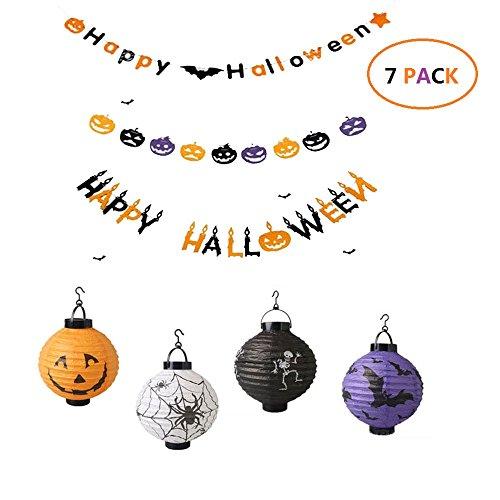 BTSD-home Halloween Decorations 3 Set Paper Garlands Paper Lanterns with LED Light Pack of 4 Skeleton Bats Jack O Lantern Spider