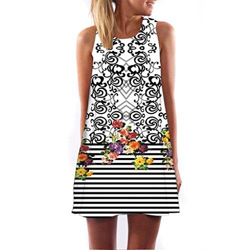 Oksale Vintage Boho Women Summer Sleeveless Beach Printed Short Mini Dress (White, - Diesel Skirt Knee Length