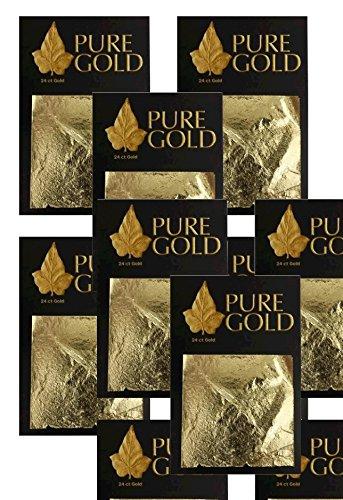 24ct Blattgold Vergoldung-100Gold Blatt, 4,5cm x 4,5cm 10Pakete von 10Blatt