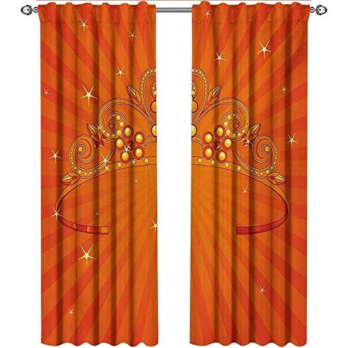 shenglv Queen, Kitchen Curtains Valances, Fancy Halloween Princess Crown with Little Skull Daisies on Radial Orange Backdrop Stars, Curtains Kitchen Valance, W84 x L108 Inch, Orange -