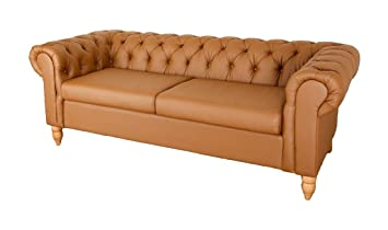 Abreo Chesterfield 2 + 3 Seater Sofas Canterbury Sofa Range Grey Or Tan  Brown Bonded Leather