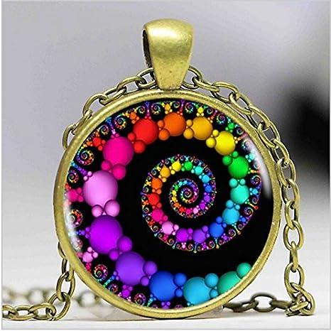 Colgante espiral de Fibonacci fractal collares, colgantes, florezca remolinos collar, geometría sagrada de cúpula de cristal joyería: Amazon.es: Juguetes y juegos