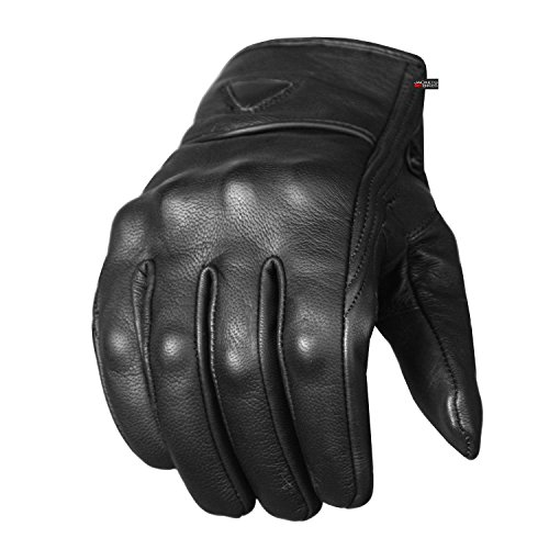 Men's Premium Leather Street Motorcycle Protective Cruiser Biker Gel Gloves L - Black Leather Riding Gloves