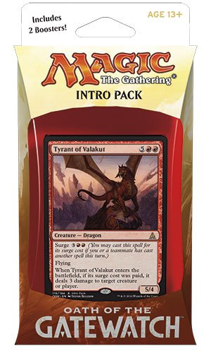 Magic the Gathering: MTG Oath of the Gatewatch: Intro Pack / Theme Deck: Surge of Resistance (includes 2 Booster Packs & Alternate Art Premium Rare Promo) Blue / Red - Tyrant of Valakut
