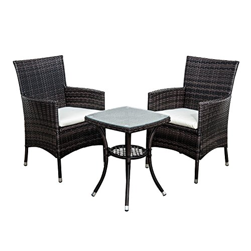 Outsunny Garden Outdoor Rattan Furniture Bistro Set Patio Weave Companion Chair Table Set Conservatory Fire Retardant Sponge (Brown)