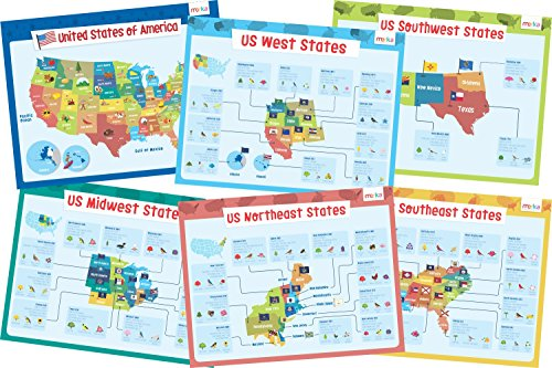 Educational Posters for Kids - Size 17x22 (USA States & More) ()
