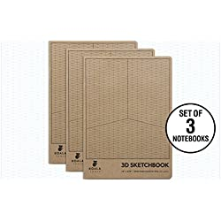 "Koala Tools | Isometric Graph Paper Notebook (3 Pack) | 7.5"" x 9.75"", 60 pp. - Kraft Cover Isometric Grid Drawing Pads - Suitable for Industrial, Architectural, Interior Design"