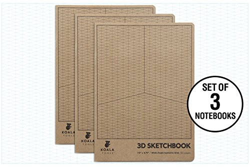 Koala Tools | Isometric Graph Paper Notebook (3 Pack) | 7.5'' x 9.75'', 60 pp. - Kraft Cover Isometric Grid Drawing Pads - Suitable for Industrial, Architectural, Interior Design by Koala Tools