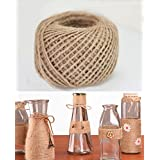 100 Meter / 300 Feet Natural Jute Twines 3Ply Arts Crafts Garden Jute Rope 2mm Thick Heavy Duty Packing String For Gifts DIY Decoration Card Gardening (1 PCS)