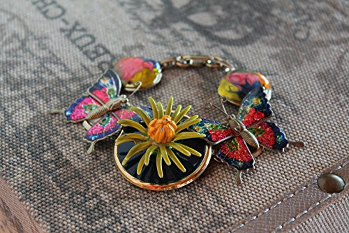 RUNWAY UP-CYCLED BAUBLE BRACELET USING VINTAGE BROOCH BUTTON EARRINGS AND BUTTERFLY (Vintage Pin Earrings)