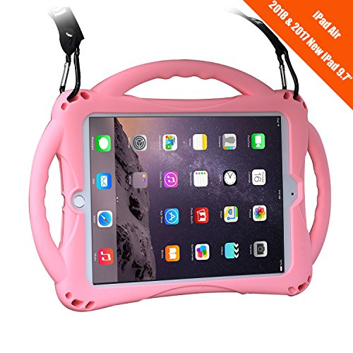 New iPad 2017/2018 9.7 inch Case/iPad Air Case, TopEsct Shockproof Silicone Handle Stand Case Cover&(Tempered Glass Screen Protector) For Apple New iPad 9.7inch(2017/2018 Version) and iPad Air(Pink)