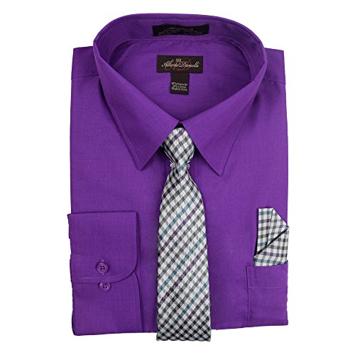 Alberto Danelli Men's Long Sleeve Dress Shirt with Matching Tie and Handkerchie Set Violet, XXXX-Large / 20-20.5